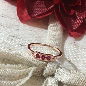 Jewelry - 🆕 Triple Ruby & Rose Gold Simply Stated Ring